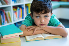 Elementary boy with book in school library. Portrait of elementary boy with book at table in school library Royalty Free Stock Photography