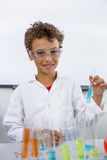 Elementary of boy holding test tube with liquid at laboratory Stock Images
