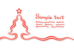 Elementary Christmas Card. Christmas card background with christmas tree and star. Tree is created with a ribbon Stock Photos