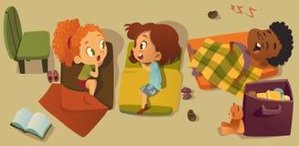 Free Elementary Class Bedtime Character Illustration. Kindergarten Multiracial Children Nap Time, Girl Friend Gossip. African Stock Photo - 137100430