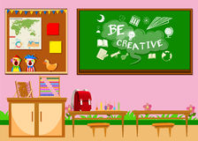 Elementary classroom with board and chairs Royalty Free Stock Image