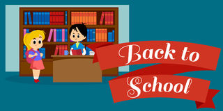Elementary education, students in library with bookshelf  Royalty Free Stock Photography