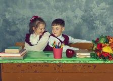 Elementary emotional school kids Royalty Free Stock Photo