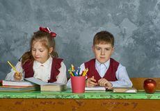 Elementary emotional school kids Stock Photo