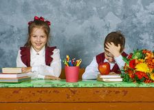 Elementary emotional school kids Stock Photography
