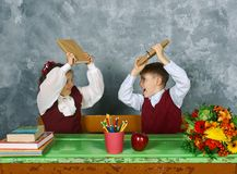 Elementary emotional school kids Royalty Free Stock Photography