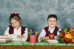 Elementary emotional school kids stock images
