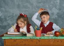 Elementary emotional school kids Stock Photos