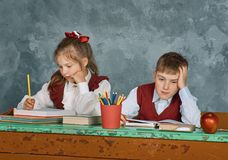 Elementary emotional school kids royalty free stock images