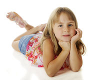 Elementary Girl Relaxing Royalty Free Stock Photos
