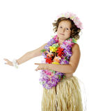 Elementary Hula Dancer Royalty Free Stock Photography