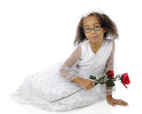 Elementary Lady and a Rose Royalty Free Stock Photography