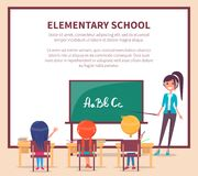 Elementary Lesson at School. Children Sit at Desk. Elementary lesson in primary school web banner. Children sit at desk and study alphabet at the lesson, teacher vector illustration