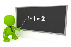 Elementary Math. Illustration of an elementary math teacher at a blackboard. Part of my cute green man series vector illustration