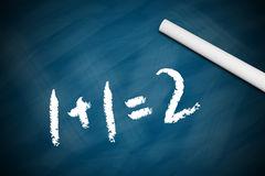 Elementary Math. Concept shot of a Blackboard with the text 1+1=2 stock images