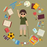 Disabled blind schoolboy with cane and school supplies Royalty Free Stock Photography