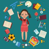 Elementary or middle school girl with supplies royalty free illustration