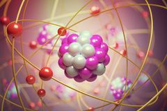 Elementary particles in atom. Physics concept. 3D rendered illustration.  royalty free illustration
