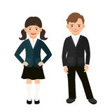 Elementary primary students kids in uniform. Isolated on white background. Vector illustration Royalty Free Stock Images