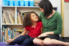Elementary Pupil Reading With Teacher In Classroom. Looking At Each Other Sitting  Down Stock Image