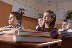 Elementary pupils at lesson Royalty Free Stock Photos