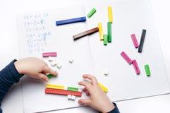 Elementary school: arithmetic exercises Stock Image