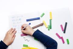 Elementary school: arithmetic exercises Royalty Free Stock Photo