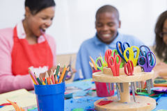 Elementary school art class Stock Images