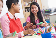 Elementary school art class Stock Photo
