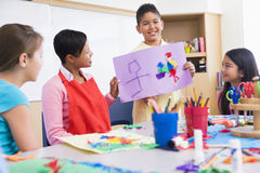 Elementary school art class. With teacher Royalty Free Stock Images
