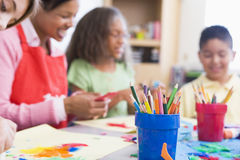 Elementary school art class Royalty Free Stock Image