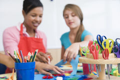Elementary school art class. With teacher Royalty Free Stock Photography