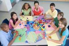 Elementary school art class. Viewed from above royalty free stock images