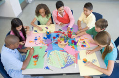 Elementary school art lesson Stock Photography