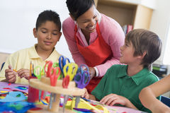 Elementary school art lesson Stock Photo