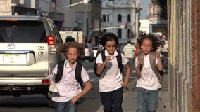 Elementary School Boys Hurrying. Stock video in 4k or HD resolution stock video