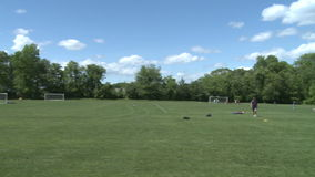 Elementary School Boys Playing Soccer (1 of 6). A view or scene of Sports stock video