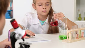 Elementary school chemistry class stock video footage