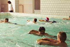 Elementary school children within swimming skills lesson. royalty free stock photo