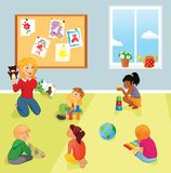 Elementary school class, teacher and kids. Nursery or elementary school teacher and kids in a room. Teacher reads book, children listen and play. School royalty free illustration