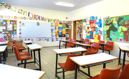 Elementary school classroom. A view from an elementary school classroom royalty free stock photography