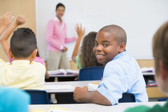 Elementary School Classroom. Lesson in elementary school classroom Royalty Free Stock Photo
