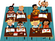 Elementary school. Classroom filled with diverse children characters, EPS 8 vector illustration vector illustration