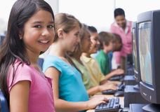Elementary school computer class royalty free stock images