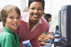 Elementary school computer class Stock Photos