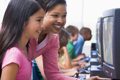 Elementary school computer class Royalty Free Stock Photos