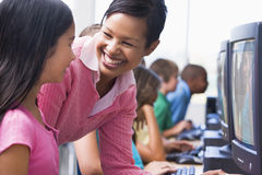 Elementary school computer class Royalty Free Stock Image