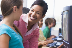 Elementary school computer class Stock Images