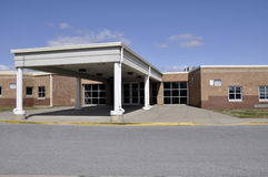 Elementary school entrance. Covered entry doors for an elementary school building Stock Photo