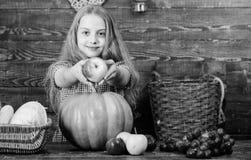 Elementary school fall festival idea. Celebrate harvest festival. Kid girl fresh vegetables harvest rustic style. Child. Presenting harvest vegetable garden stock photography